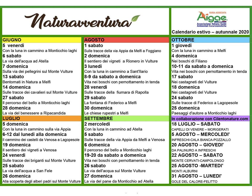 Calendario Escursioni 2020 NaturAvventura